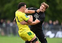 22nd May 2021; Grammar Tec, Auckland New Zealand; All Blacks Sevens versus Australia, Trans-Tasman Sevens;  Australia's Dylan Pietsch is tackled by Scott Curry.