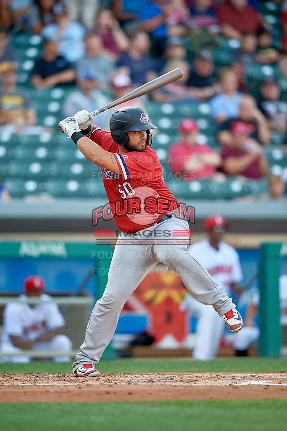 Rochester Red Wings catcher Juan Graterol (50) at bat during a game against the Indianapolis Indians on July 24, 2018 at Victory Field in Indianapolis, Indiana.  Rochester defeated Indianapolis 2-0.  (Mike Janes/Four Seam Images)