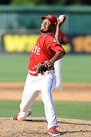 Relief pitcher Raynel Velette (34) of the Greenville Drive in a game against the Augusta GreenJackets on Sunday, July 13, 2014, at Fluor Field at the West End in Greenville, South Carolina. Greenville won, 8-5. (Tom Priddy/Four Seam Images)
