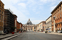 This picture taken on April 13, 2020, shows a view of an empty Conciliazione street in Rome during the lockdown aimed at curbing the spread of the COVID-19 infection, caused by the novel coronavirus.<br /> UPDATE IMAGES PRESS/Isabella Bonotto<br /> <br /> STRICTLY ONLY FOR EDITORIAL USE