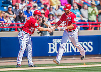 7 March 2016: Washington Nationals first baseman Clint Robinson rounds the bases after hitting a home run during a Spring Training pre-season game against the Miami Marlins at Space Coast Stadium in Viera, Florida. The Nationals defeated the Marlins 7-4 in Grapefruit League play. Mandatory Credit: Ed Wolfstein Photo *** RAW (NEF) Image File Available ***