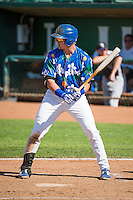 Matt Jones (40) of the Ogden Raptors at bat against the Grand Junction Rockies in Pioneer League action at Lindquist Field on July 5, 2015 in Ogden, Utah.Ogden defeated Grand Junction 12-2.  (Stephen Smith/Four Seam Images)