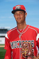 Batavia Muckdogs pitcher Aneury Osoria (37) poses for a photo before the teams first practice on June 15, 2016 at Dwyer Stadium in Batavia, New York.  (Mike Janes/Four Seam Images)