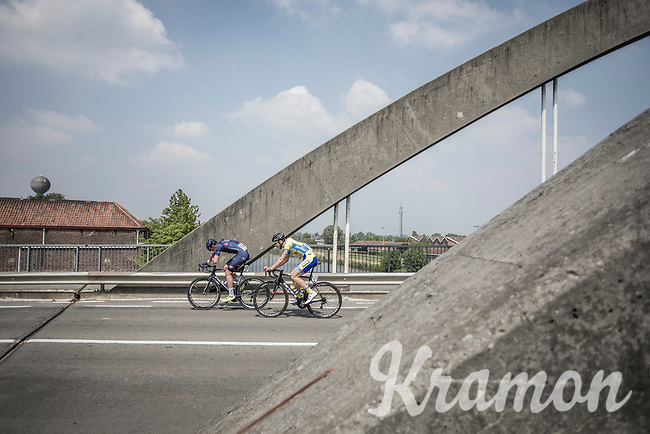 Edoardo Affini (ITA/SEG Racing Academy) and Abram Stockman (BEL/Tarteletto Isorex) early race trying to force an early break away. <br /> <br /> GP Marcel Kint 2018 <br /> Kortrijk > Zwevegem 174.8km (BELGIUM)