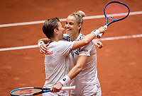 Den Bosch, The Netherlands, April 17, 2021,    Maaspoort, Billie Jean King Cup  Netherlands -  China , seccond day doubles match: Arantxta Rus (NED) and Demi Schuurs (NED)  celebrate they defeted China 3-2<br /> Photo: Tennisimages/Henk Koster
