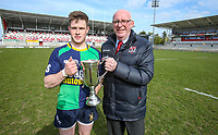 Saturday 13th April 2019 | Ballynahinch 4 vs Banbridge 3<br /> <br /> Chris Gibson receives the Crawford Cup form Ulster Branch President Stephen Elliott after the Hinch defeated Banbridge  in the Crawford Cup final at Kingspan Stadium, Ravenhill Park, Belfast, Northern Ireland.  Photo by John Dickson / DICKSONDIGITAL