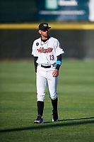Tri-City ValleyCats Carlos Machado (13) warms up before a game against the Vermont Lake Monsters on June 16, 2018 at Joseph L. Bruno Stadium in Troy, New York.  Vermont defeated Tri-City 6-2.  (Mike Janes/Four Seam Images)