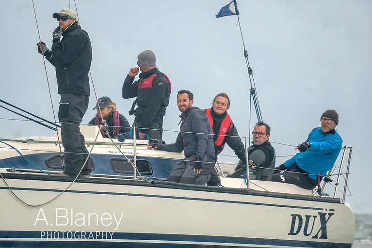All your Dux in a row…..the crew of the IRC2 champion, with Robin Hegarty on the helm. Photo: Annraoi Blaney