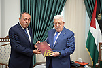 Palestinian President, Mahmoud Abbas meets with the Chairman of the Organization and Administration, Major General Yousef Dakhlallah, in the West Bank city of Ramallah, on July 29, 2021. Photo by Thaer Ganaim
