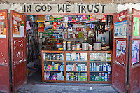 Jambiani, Zanzibar, Tanzania.  Village Shop Selling Foodstuffs, Soft Drinks, Hair Care Products, Candy,  and Sundries.  Many of these products are for sale to tourists, who patronize Jambiani's many small seaside hotels.