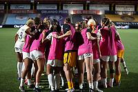 HERRIMAN, UT - JULY 17: Utah Royals FC players huddle before penalty kicks during a game between Utah Royals FC and Houston Dash at Zions Bank Stadium on July 17, 2020 in Herriman, Utah.