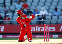 17th July 2021; Emirates Old Trafford, Manchester, Lancashire, England; T20 Vitality Blast Cricket, Lancashire Lightning versus Yorkshire Vikings; Finn Allenof Lancashire Lightning is bowled by Matthew Fisher after scoring 22 off just eight balls as he put Lancashire Lightning Lightning off to a fast start
