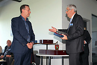 Pictured L-R: Club chairman Huw Jenkins hands over an award to Swansea University vice chancellor Richard B Davies Tuesday 04 April 2017<br /> Re: Official opening of the Fairwood Training Complex of Swansea City FC, Wales, UK