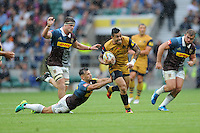 Jack Lam of Bristol Rugby breaks free from Danny Care of Harlequins to run in a try during the Aviva Premiership Rugby match between Harlequins and Bristol Rugby at Twickenham Stadium on Saturday 03 September 2016 (Photo by Rob Munro/Stewart Communications)