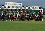 09 July 18: Kent Desormeaux rides Blind Date (no. 10) to victory in the 6th running of the grade 3 Virginia Oaks for three year old fillies at Colonial Downs in New Kent, Virginia.