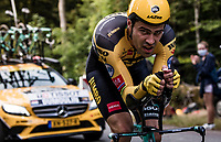 Tom Dumoulin (NED/Jumbo-Visma) back to his old (top) self on the steep parts of the individual time trial up the infamous Planche des Belles Filles by riding the fastest time up, only to be overtaken by wünderkind Pogačar 10 minutes later, putting him into 2nd on the stage...<br /> <br /> Stage 20 (ITT) from Lure to La Planche des Belles Filles (36.2km)<br /> <br /> 107th Tour de France 2020 (2.UWT)<br /> (the 'postponed edition' held in september)<br /> <br /> ©kramon