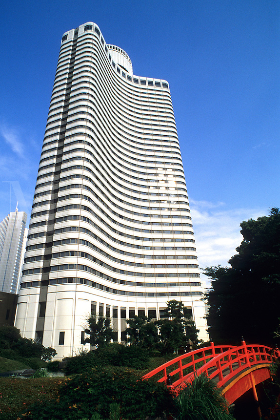 Marriott Hotel the New Otani Hotel with curved red bridge in Tokyo Japan