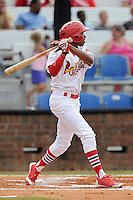 Left fielder Anthony Ray (3) of the Johnson City Cardinals bats in a game against the Elizabethton Twins on Sunday, July 27, 2014, at Howard Johnson Field at Cardinal Park in Johnson City, Tennessee. The game was suspended due to weather in the fifth inning. (Tom Priddy/Four Seam Images)