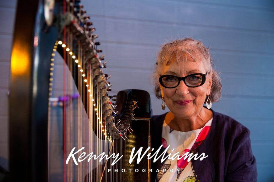 Jini O'Flynn, Harp Musician, Arts A Glow Festival, Burien, WA, USA.
