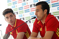 Spain's Hector Bellerin (l) and Pedro Rodriguez in press conference during preparing training stage to Euro 2016. May 30,2016.(ALTERPHOTOS/Acero) /NortePhoto.com
