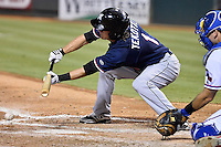 Reno Aces right fielder Blake Tekotte (1) attempts to bunt during pacific coast league baseball game, Friday August 14, 2014 in Round Rock, Tex. Reno defeated Round Rock 6-1 to go two up in best of three series. (Mo Khursheed/TFV Media via AP Images)