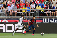 East Hartford, CT - Saturday July 01, 2017: Jerry Akaminko, Dom Dwyer during an international friendly match between the men's national teams of the United States (USA) and Ghana (GHA) at Pratt & Whitney Stadium at Rentschler Field.