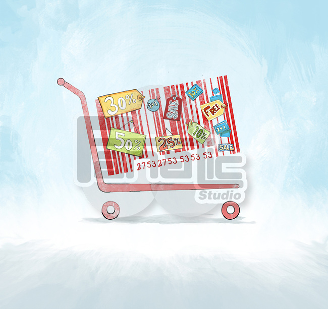 Shopping cart with barcode and price tags depicting the concept of discounted sale advertisement