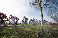 peloton over the Haaghoek pavé<br /> <br /> Omloop Het Nieuwsblad 2015
