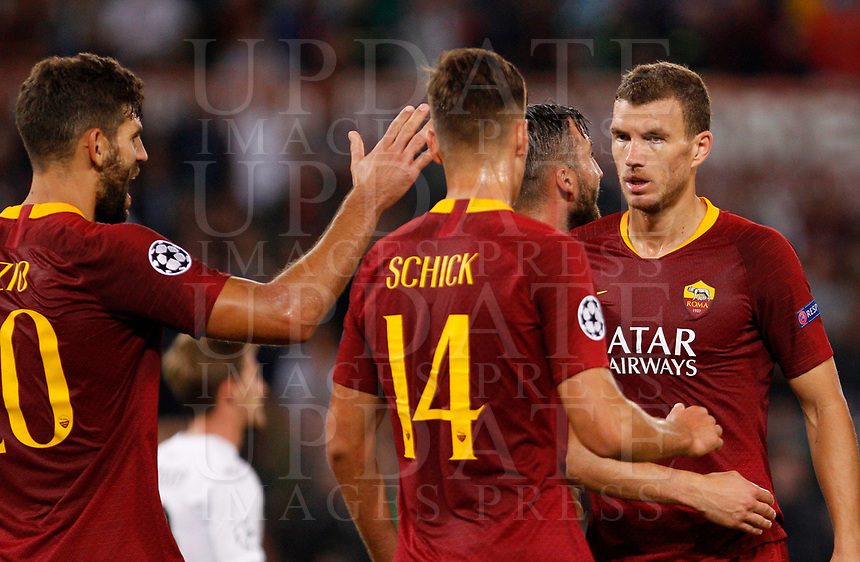 Roma's Edin Dzeko, right, celebrates with his teammates after scoring during the Champions League football match between Roma and Viktoria Plzen at Rome's Olympic stadium, October 2, 2018.<br /> UPDATE IMAGES PRESS/Riccardo De Luca