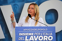 Italian center-right leader Giorgia Meloni (Fratelli d'Italia) during the demonstration of the center-right parties at Piazza del Popolo, Together for the Italy of work. Rome (Italy), July 4th 2020<br /> Foto Insidefoto