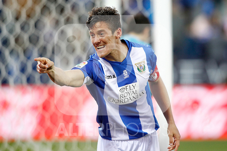 CD Leganes' Martin Mantovani celebrates goal during La Liga match. February 25,2017. (ALTERPHOTOS/Acero)
