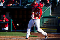 Matthew Adams (25) of the Springfield Cardinals makes contact on a pitch during a game against the Frisco RoughRiders on April 16, 2011 at Hammons Field in Springfield, Missouri.  Photo By David Welker/Four Seam Images