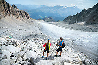 The Chamonix to Zermatt Glacier Haute Route. In late August 2017, we ran the tour in mountain running gear, running shoes, and all the necessary glacier travel and crevasse rescue gear. Arriving to the Cabane d'Orny above the Plateau du Trient.
