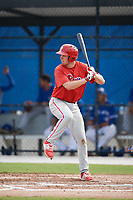 Philadelphia Phillies Greg Pickett (28) at bat during an Instructional League game against the Toronto Blue Jays on October 7, 2017 at the Englebert Complex in Dunedin, Florida.  (Mike Janes/Four Seam Images)