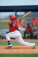 GCL Nationals right fielder Israel Mota (24) at bat during a game against the GCL Astros on August 14, 2016 at the Carl Barger Baseball Complex in Viera, Florida.  GCL Nationals defeated GCL Astros 8-6.  (Mike Janes/Four Seam Images)