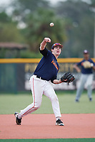 Adam Hunt (26), from Elkhorn, Nebraska, while playing for the Astros during the Baseball Factory Pirate City Christmas Camp & Tournament on December 29, 2017 at Pirate City in Bradenton, Florida.  (Mike Janes/Four Seam Images)