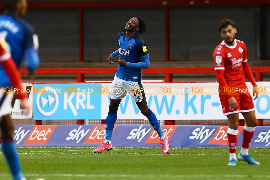 Joshua Kayode of Carlisle United scores the second goal for his team and celebrates during Crawley Town vs Carlisle United, Sky Bet EFL League 2 Football at Broadfield Stadium on 21st November 2020