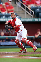 Springfield Cardinals catcher Alberto Rosario (23) throws to first during a game against the Frisco RoughRiders  on June 3, 2015 at Hammons Field in Springfield, Missouri.  Springfield defeated Frisco 7-2.  (Mike Janes/Four Seam Images)