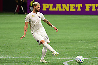ATLANTA, GA - SEPTEMBER 02: Leandro Gonzalez Pirez #26 of Inter Miami CF passes the ball during a game between Inter Miami CF and Atlanta United FC at Mercedes-Benz Stadium on September 02, 2020 in Atlanta, Georgia.