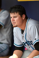 Daytona Tortugas pitcher Nick Travieso (21) in the dugout during a game against the Charlotte Stone Crabs on April 14, 2015 at Charlotte Sports Park in Port Charlotte, Florida.  Charlotte defeated Daytona 2-0.  (Mike Janes/Four Seam Images)
