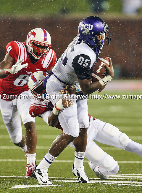 TCU Horned Frogs wide receiver LaDarius Brown (85) in action during heavy rainfall in the game between the Southern Methodist Mustangs and the TCU Horned Frogs at the Gerald J. Ford Stadium in Dallas, Texas. TCU defeats SMU 24 to 16..