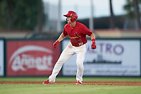Palm Beach Cardinals Nolan Gorman (18) leads off second base during a Florida State League game against the Clearwater Threshers on August 10, 2019 at Roger Dean Chevrolet Stadium in Jupiter, Florida.  Clearwater defeated Palm Beach 11-4.  (Mike Janes/Four Seam Images)