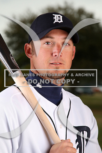 February 27, 2010:  Infielder Ryan Raburn (25) of the Detroit Tigers poses for a photo during media day at Joker Marchant Stadium in Lakeland, FL.  Photo By Mike Janes/Four Seam Images
