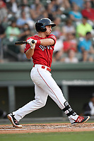 First baseman Mitchell Gunsolus (22) of the Greenville Drive bats in a game against the Kannapolis Intimidators on Friday, July 14, 2017, at Fluor Field at the West End in Greenville, South Carolina. Greenville won, 2-0. (Tom Priddy/Four Seam Images)