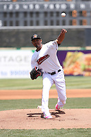 Yohander Mendez (21) of the High Desert Mavericks pitches against the Rancho Cucamonga Quakes at Heritage Field on May 8, 2016 in Adelanto, California. Rancho Cucamonga defeated High Desert, 11-5. (Larry Goren/Four Seam Images)
