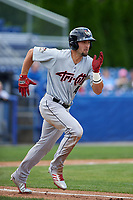 Tri-City ValleyCats left fielder J.J. Matijevic (4) runs to first base during a game against the Batavia Muckdogs on July 16, 2017 at Dwyer Stadium in Batavia, New York.  Tri-City defeated Batavia 13-8.  (Mike Janes/Four Seam Images)