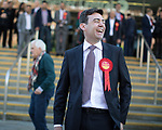© Joel Goodman - 07973 332324 . 05/05/2017 . Manchester , UK . ANDY BURNHAM after his victory , at the declaration . The count for council and Metro Mayor elections in Greater Manchester at the Manchester Central Convention Centre . Photo credit : Joel Goodman