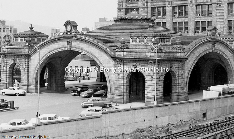 Pittsburgh PA: View of the entrance of the Pennsylvania Railroad's Pittsburgh Penn Station.