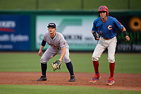 Lakeland Flying Tigers first baseman Nick Ames (46) in position as Simon Muzziotti (12) leads off during a Florida State League game against the Clearwater Threshers on May 14, 2019 at Spectrum Field in Clearwater, Florida.  Clearwater defeated Lakeland 6-3.  (Mike Janes/Four Seam Images)