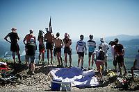waiting for the peloton up the Lacets du Grand Colombier<br /> <br /> stage 15: Bourg-en-Bresse to Culoz (160km)<br /> 103rd Tour de France 2016